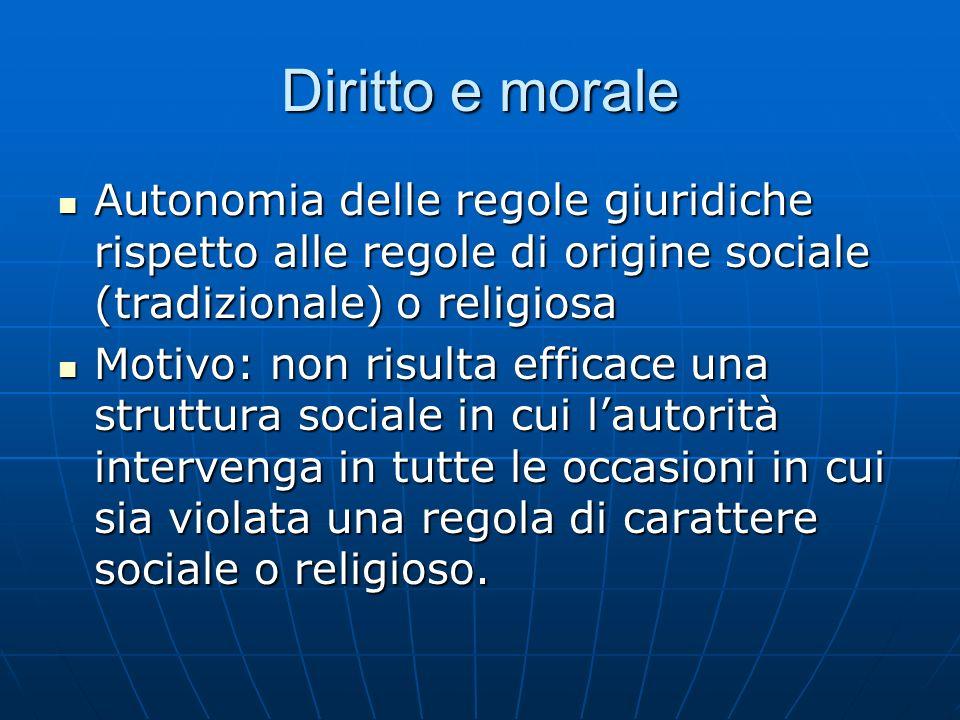 Diritto e morale Autonomia delle regole giuridiche rispetto alle regole di origine sociale (tradizionale) o religiosa.