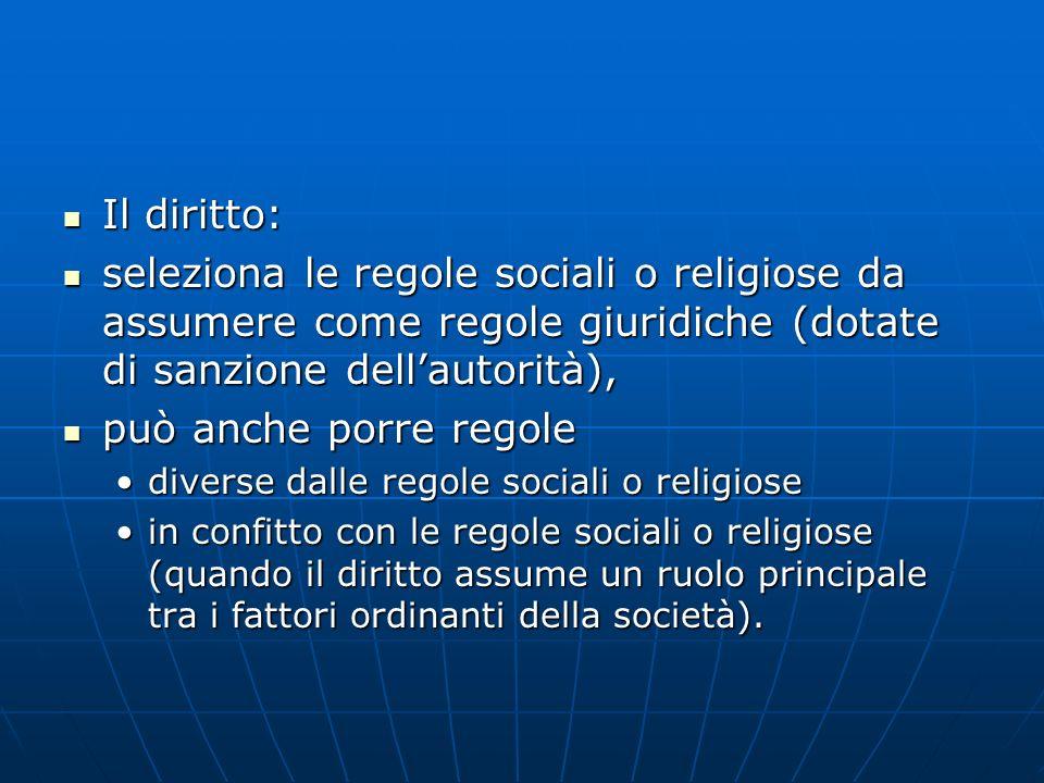 Il diritto: seleziona le regole sociali o religiose da assumere come regole giuridiche (dotate di sanzione dell'autorità),