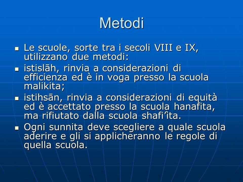 Metodi Le scuole, sorte tra i secoli VIII e IX, utilizzano due metodi: