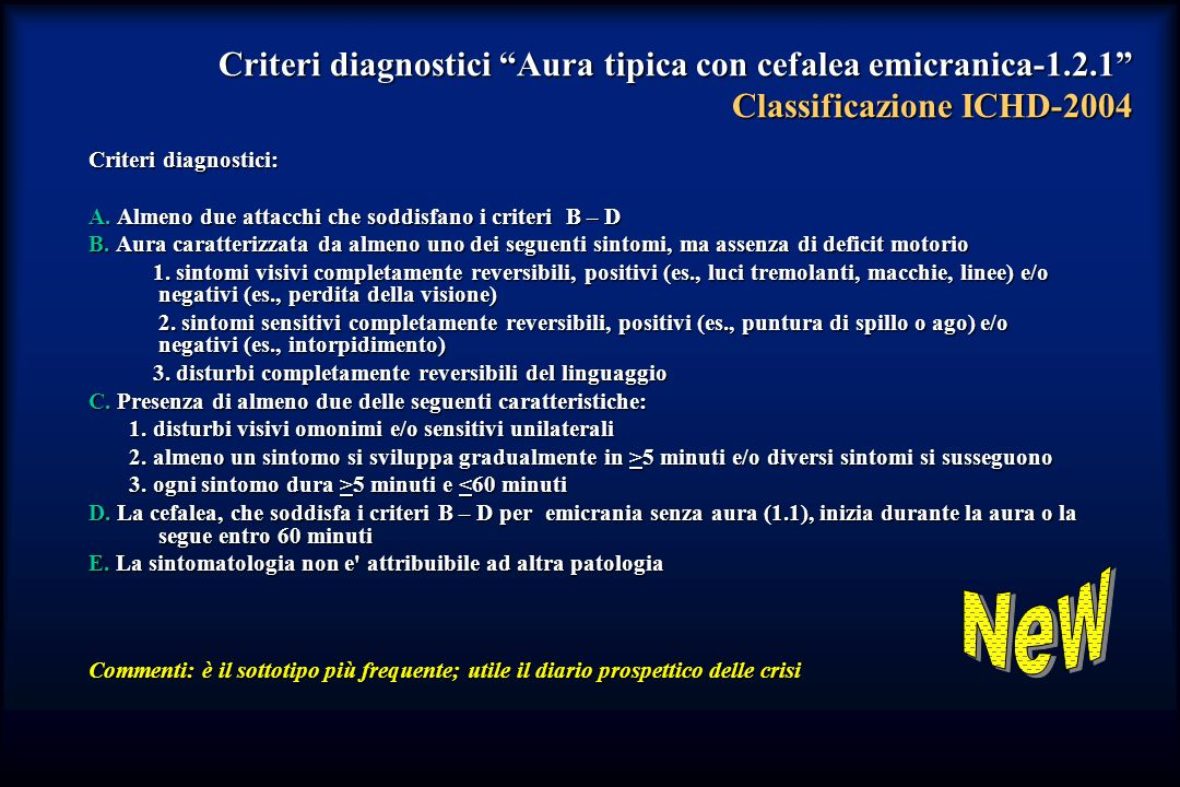 Criteri diagnostici Aura tipica con cefalea emicranica-1. 2