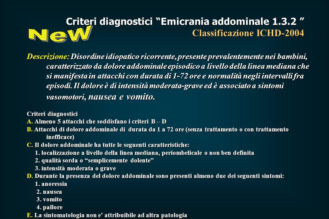 Criteri diagnostici Emicrania addominale 1. 3