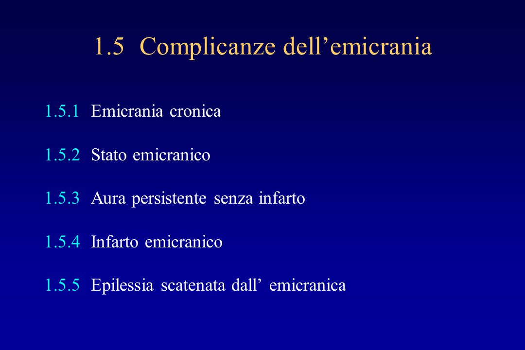 1.5 Complicanze dell'emicrania