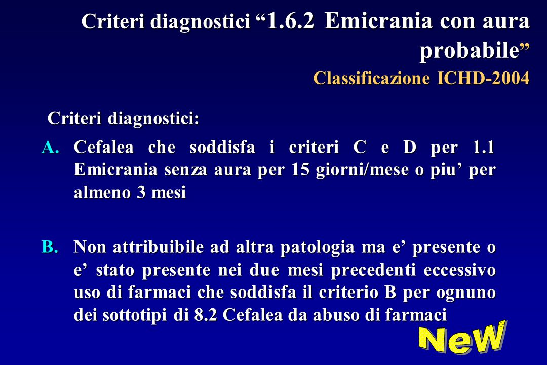 Criteri diagnostici: New