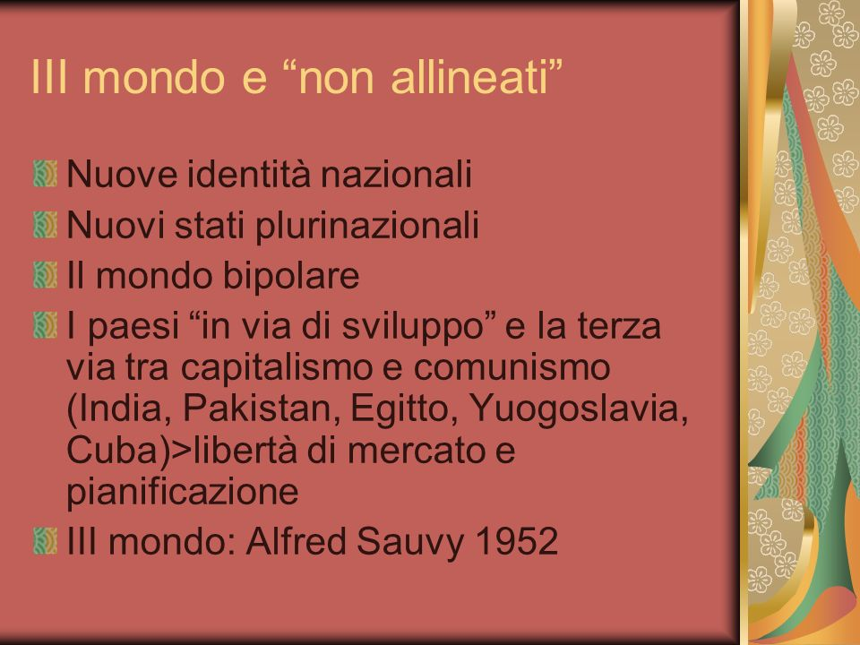III mondo e non allineati