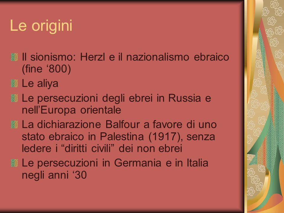 Le origini Il sionismo: Herzl e il nazionalismo ebraico (fine '800)