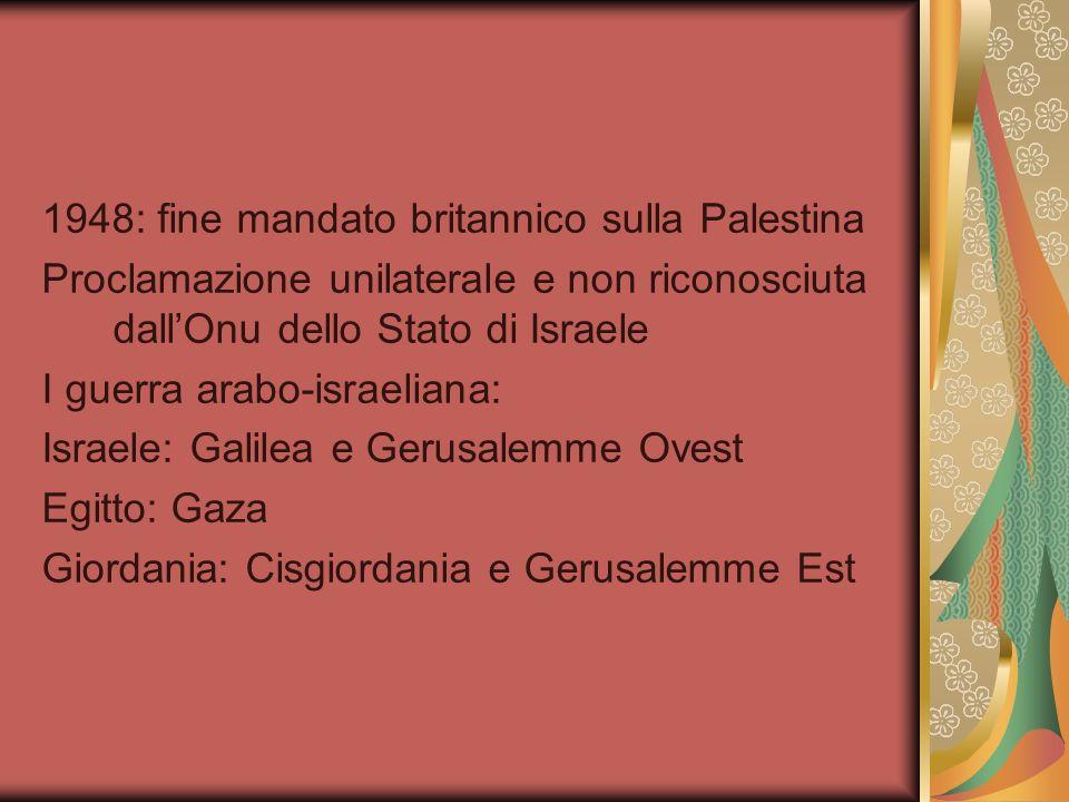 1948: fine mandato britannico sulla Palestina