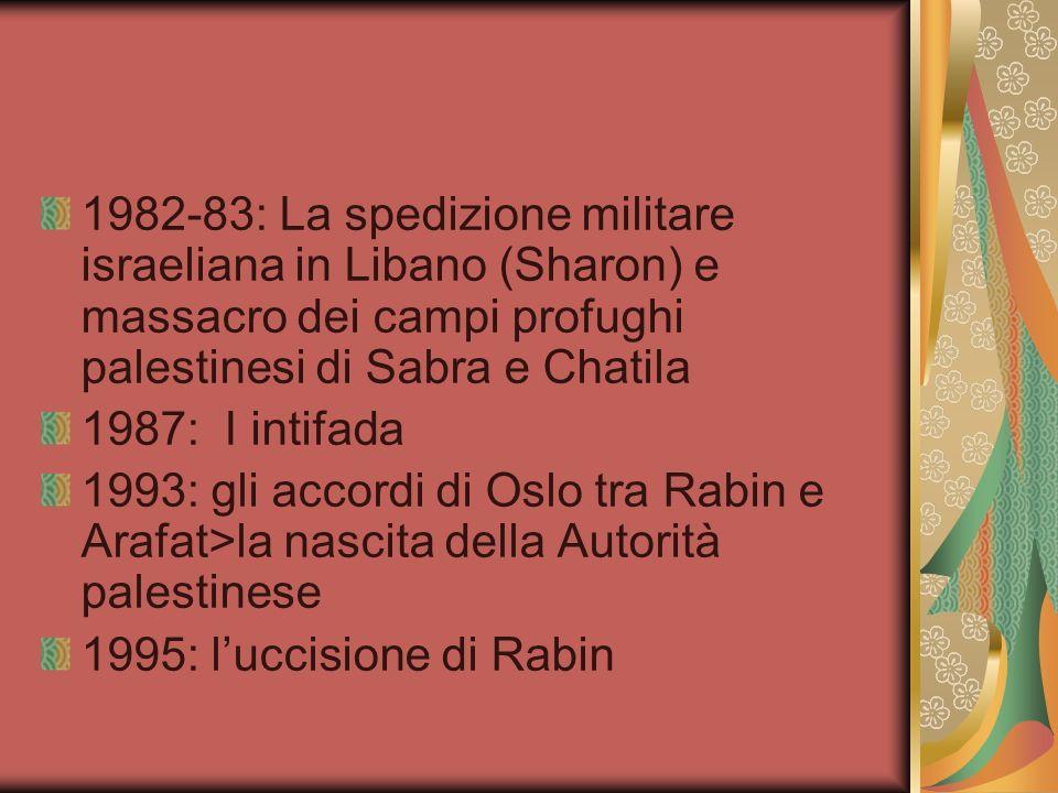 1982-83: La spedizione militare israeliana in Libano (Sharon) e massacro dei campi profughi palestinesi di Sabra e Chatila