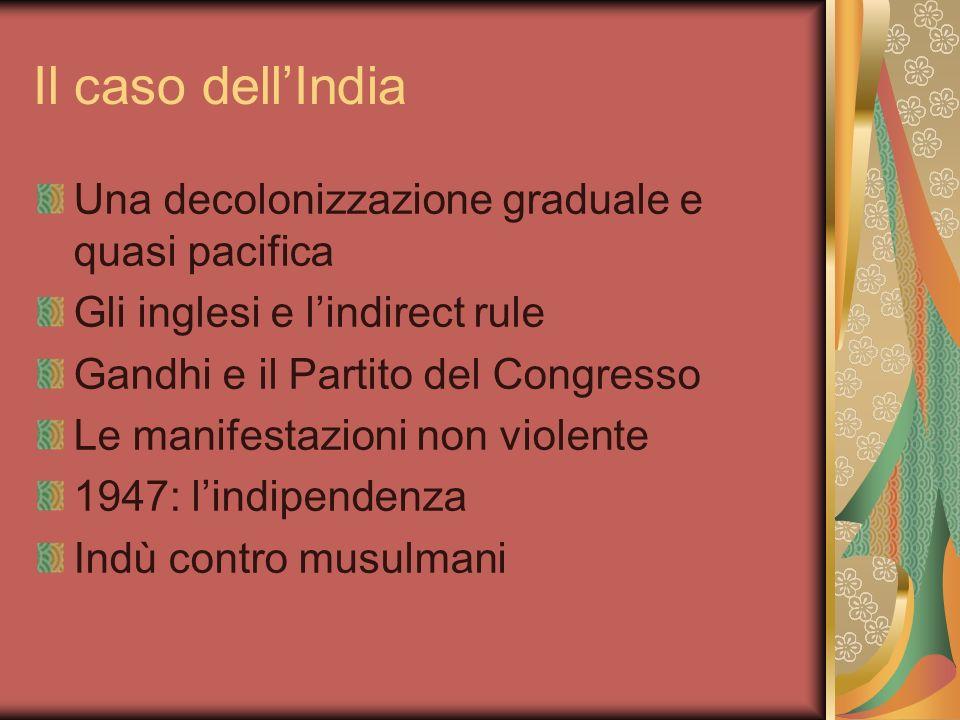Il caso dell'India Una decolonizzazione graduale e quasi pacifica