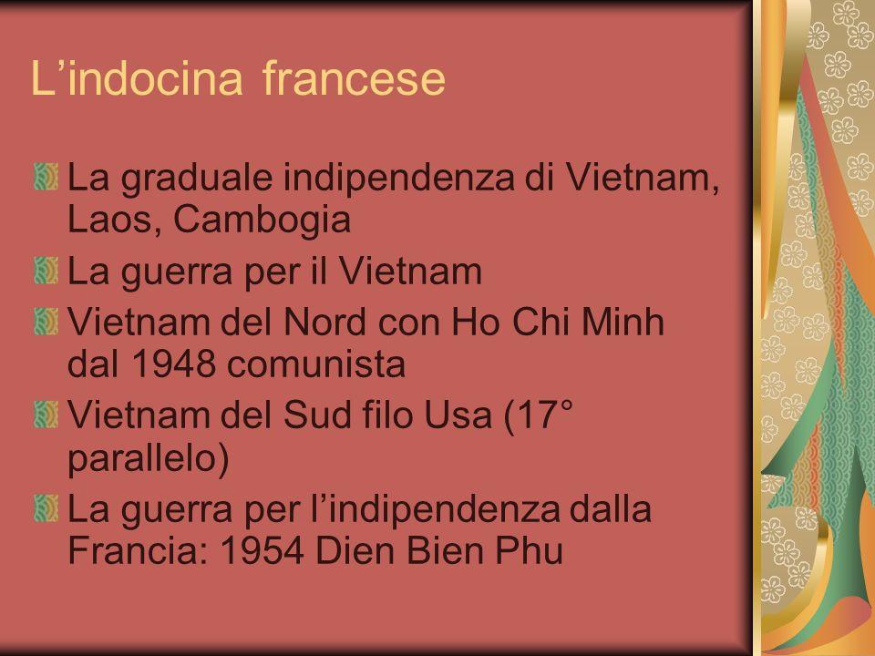 L'indocina francese La graduale indipendenza di Vietnam, Laos, Cambogia. La guerra per il Vietnam.