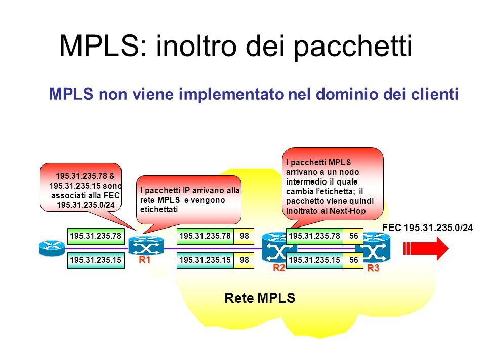MPLS: inoltro dei pacchetti