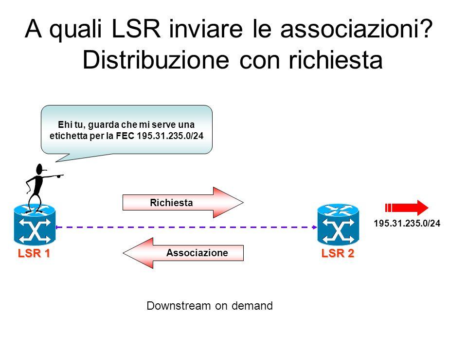 A quali LSR inviare le associazioni Distribuzione con richiesta