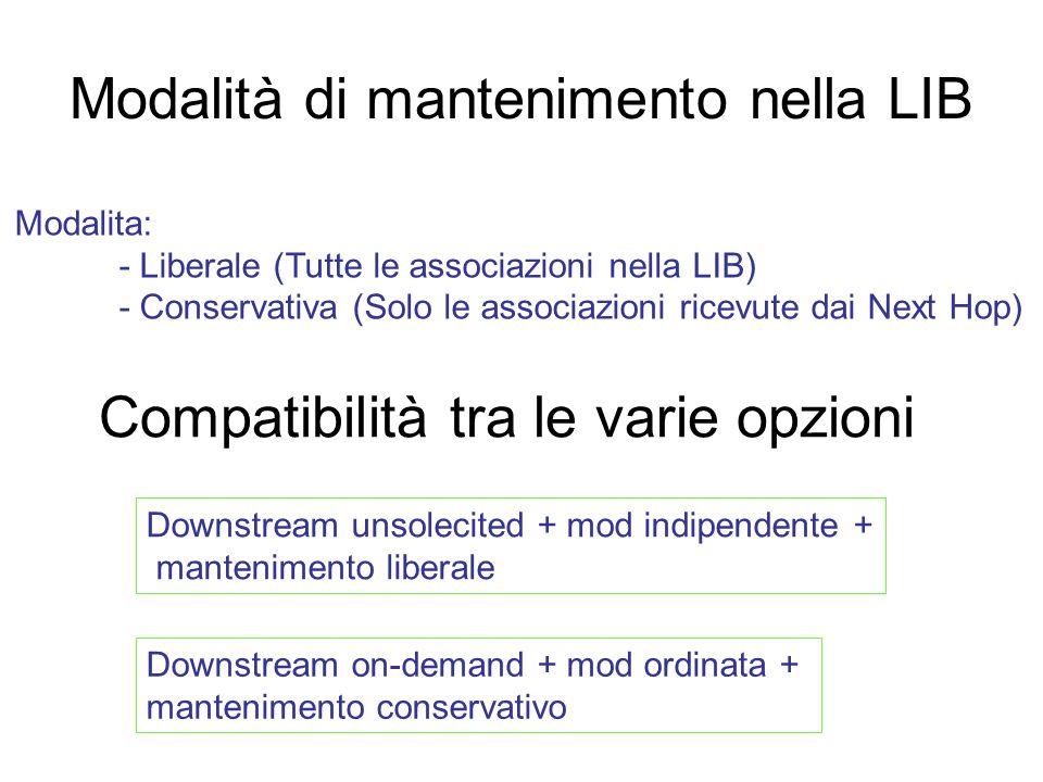 Modalità di mantenimento nella LIB