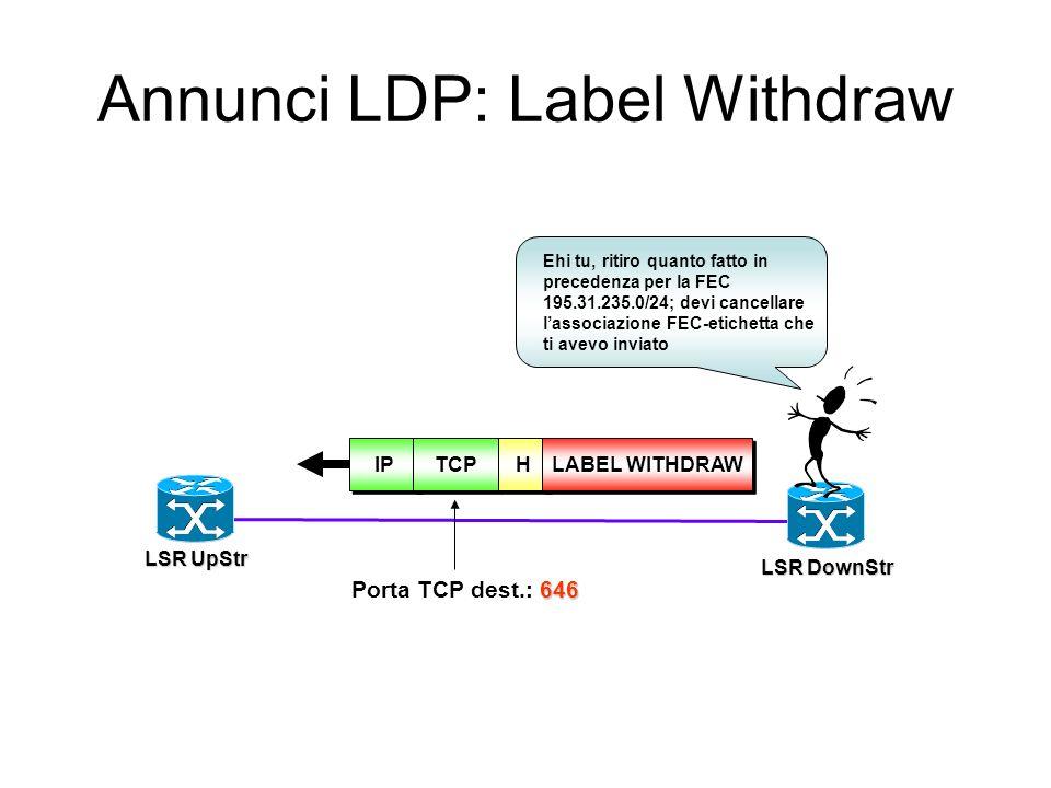 Annunci LDP: Label Withdraw
