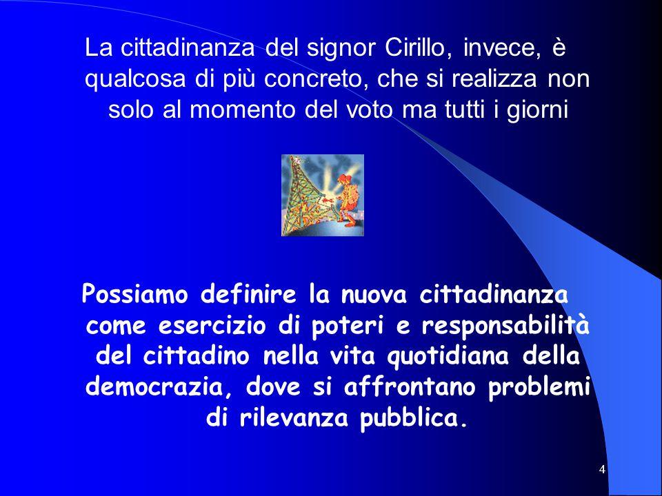 La cittadinanza del signor Cirillo, invece, è qualcosa di più concreto, che si realizza non solo al momento del voto ma tutti i giorni