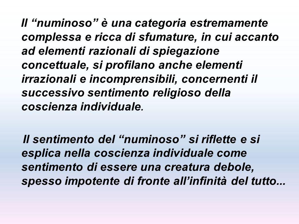Il numinoso è una categoria estremamente complessa e ricca di sfumature, in cui accanto ad elementi razionali di spiegazione concettuale, si profilano anche elementi irrazionali e incomprensibili, concernenti il successivo sentimento religioso della coscienza individuale.