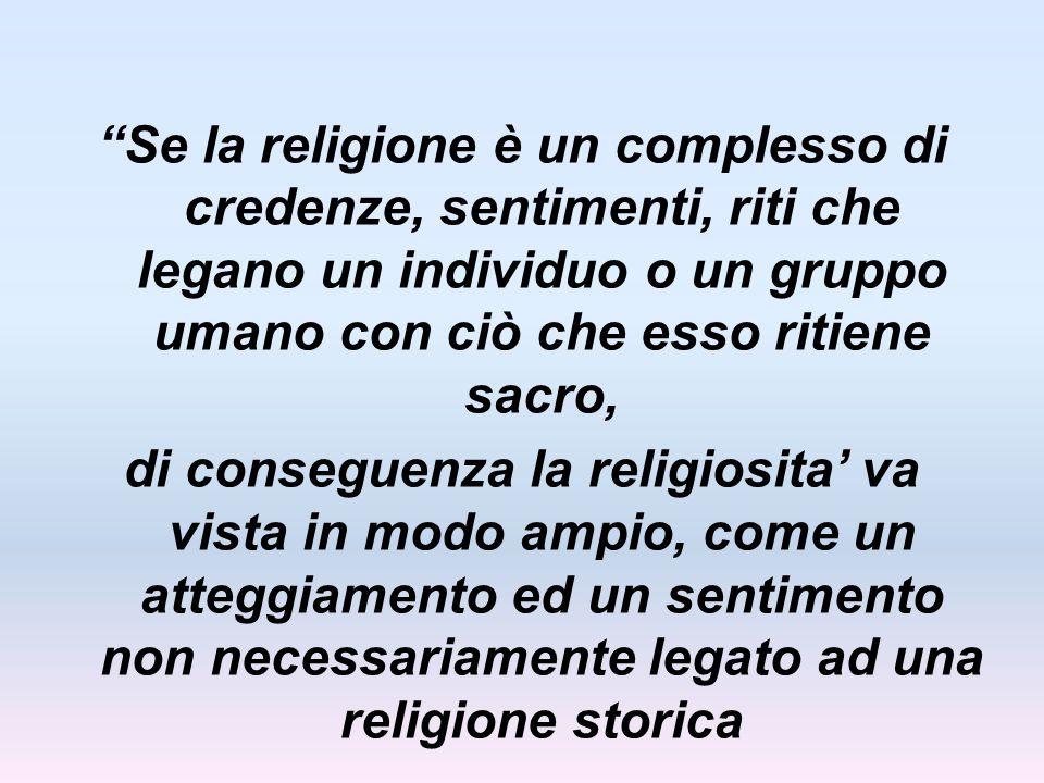 Se la religione è un complesso di credenze, sentimenti, riti che legano un individuo o un gruppo umano con ciò che esso ritiene sacro,