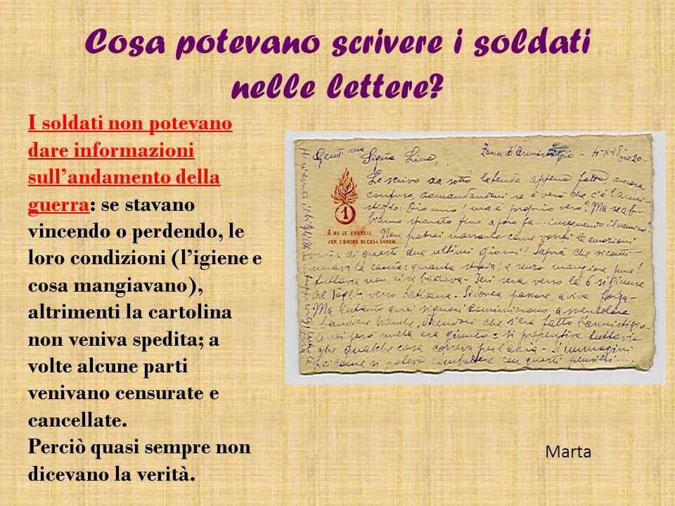 Cosa potevano scrivere i soldati nelle lettere