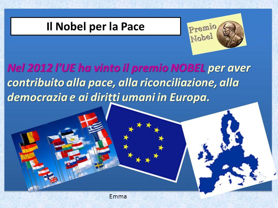 Nel 2012 l UE ha vinto il premio NOBEL per aver contribuito alla pace, alla riconciliazione, alla democrazia e ai diritti umani in Europa.