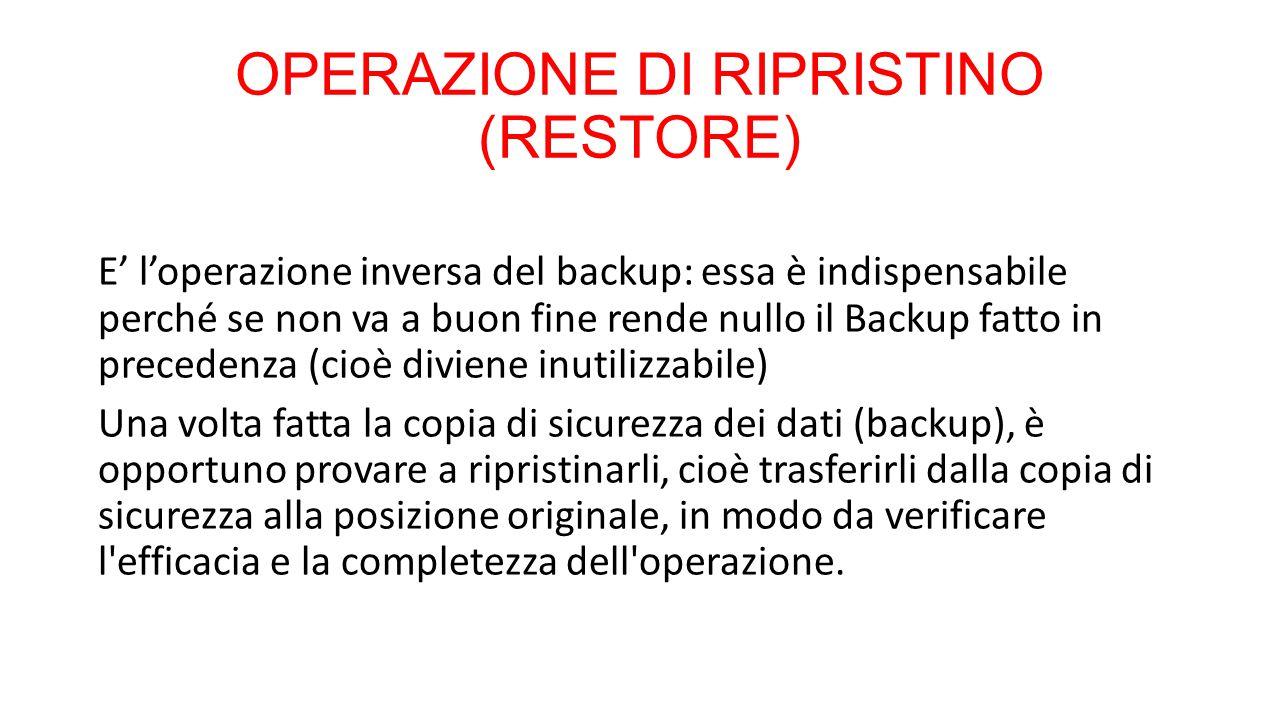 OPERAZIONE DI RIPRISTINO (RESTORE)