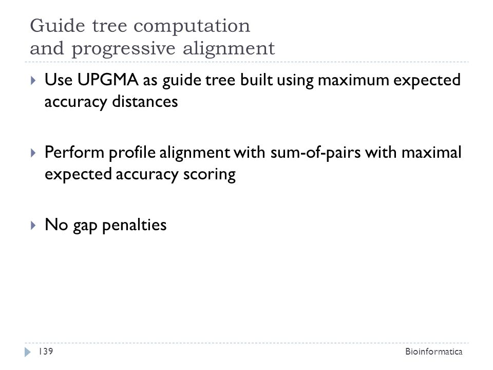 Guide tree computation and progressive alignment