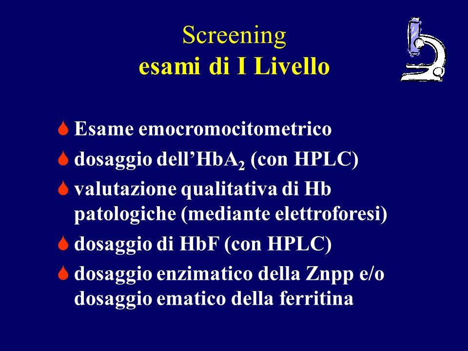 Screening esami di I Livello