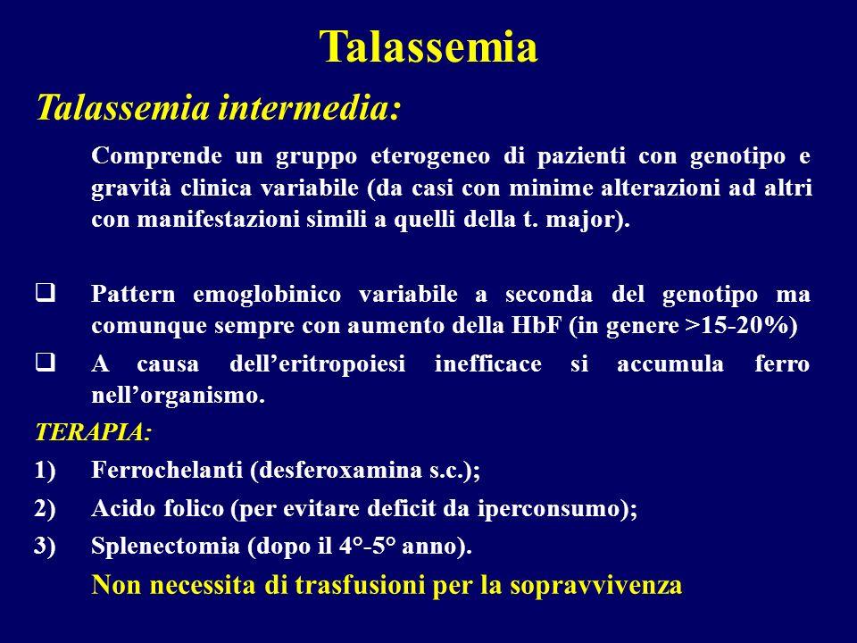 Talassemia Talassemia intermedia: