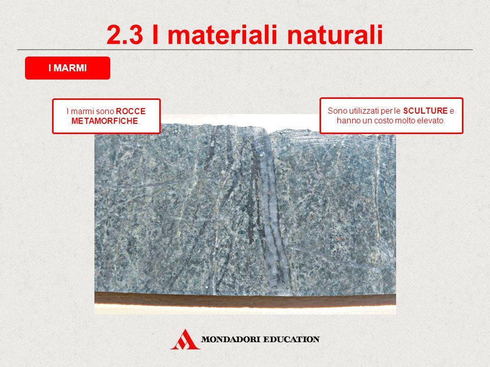 2.3 I materiali naturali I MARMI * I marmi sono ROCCE METAMORFICHE.
