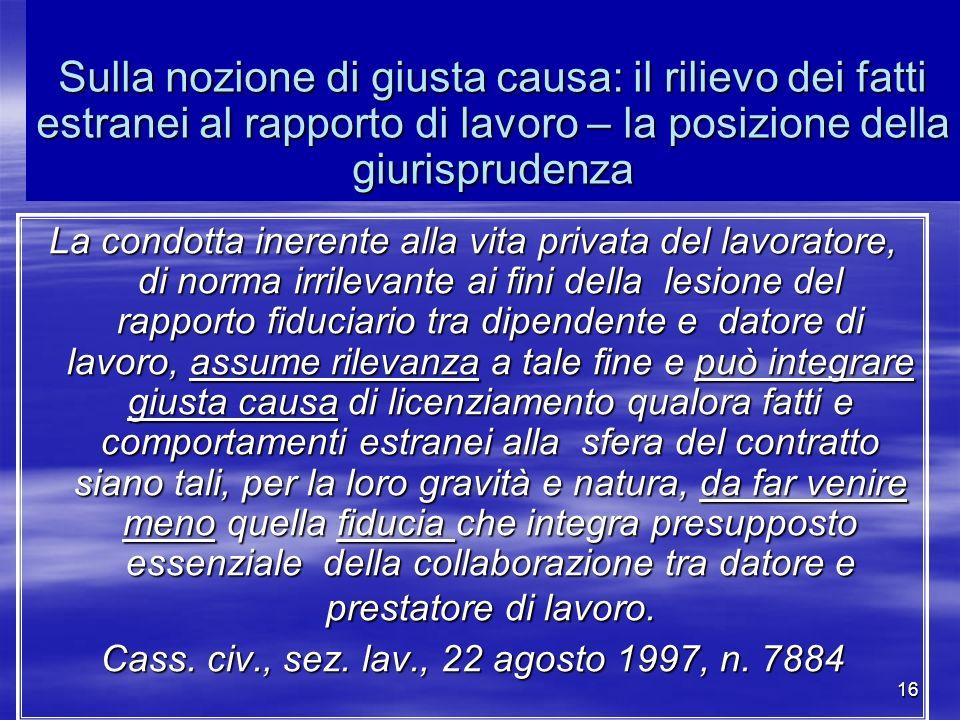 Cass. civ., sez. lav., 22 agosto 1997, n. 7884
