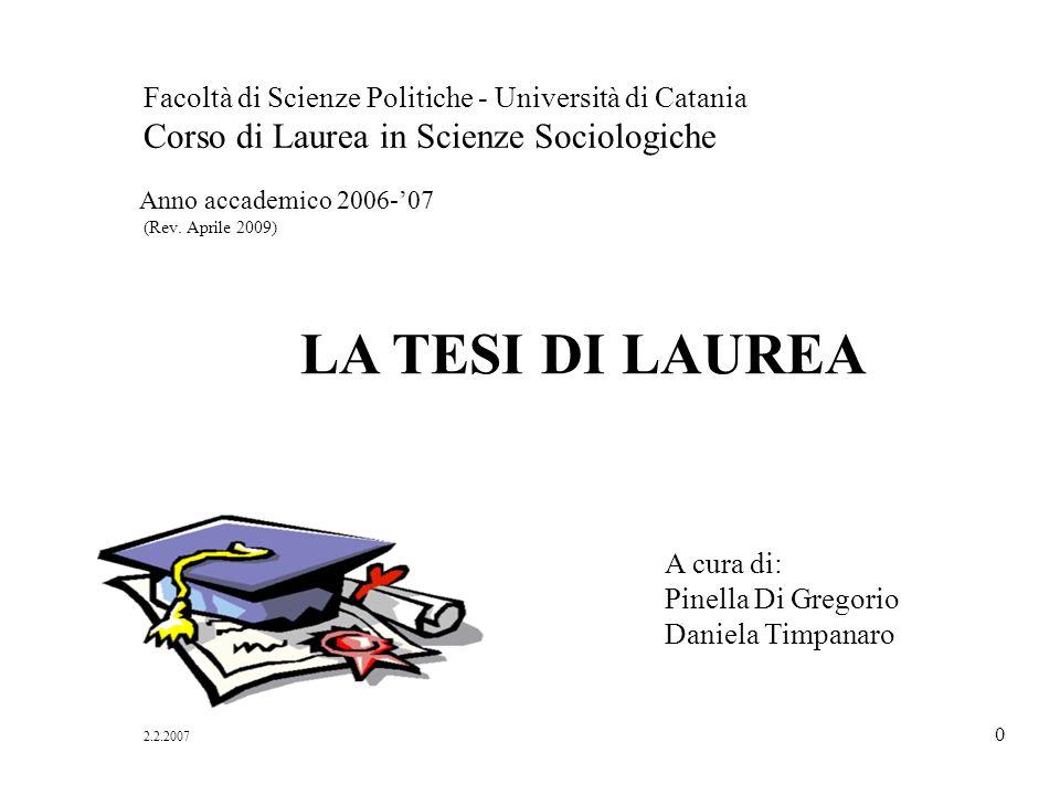 LA TESI DI LAUREA Anno accademico 2006-'07