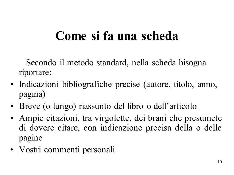 Come si fa una scheda Secondo il metodo standard, nella scheda bisogna riportare: Indicazioni bibliografiche precise (autore, titolo, anno, pagina)