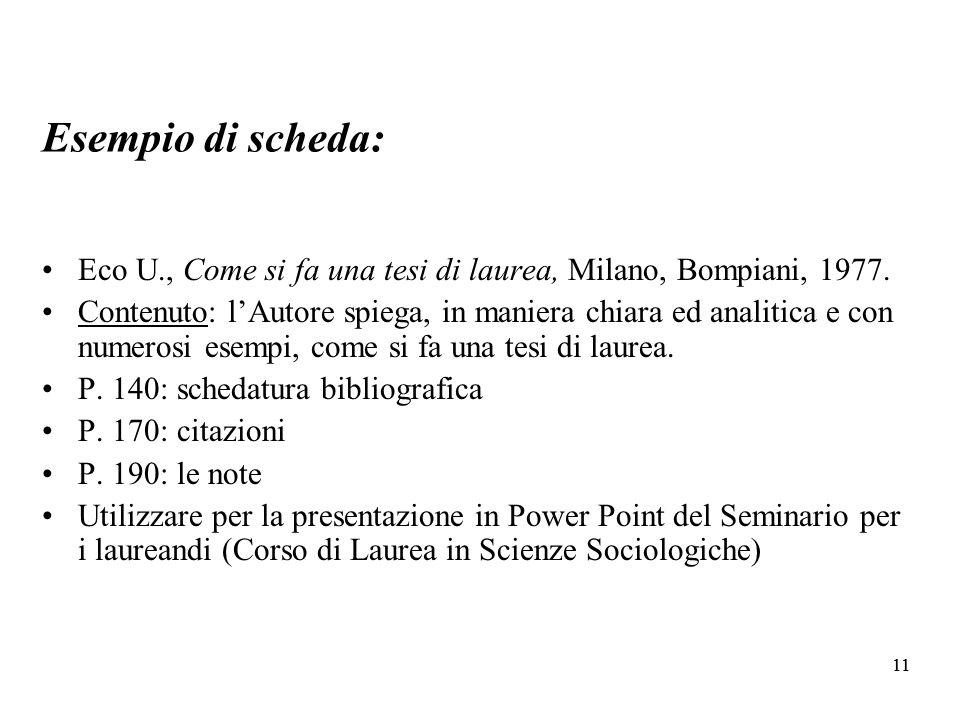 Esempio di scheda: Eco U., Come si fa una tesi di laurea, Milano, Bompiani, 1977.