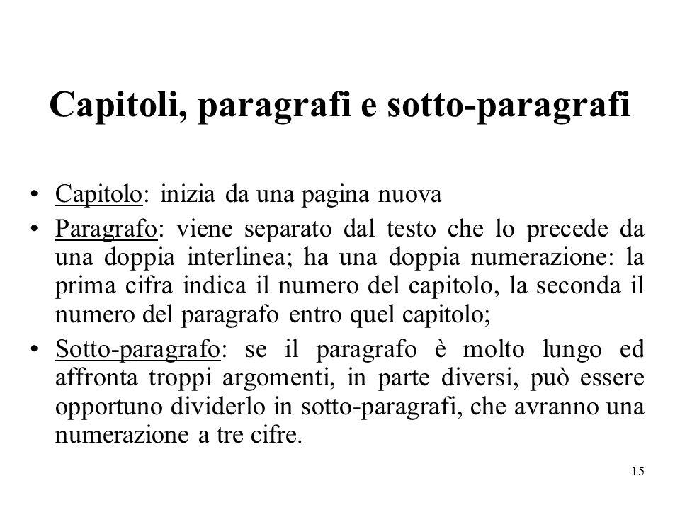 Capitoli, paragrafi e sotto-paragrafi