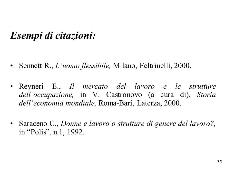 Esempi di citazioni: Sennett R., L'uomo flessibile, Milano, Feltrinelli, 2000.