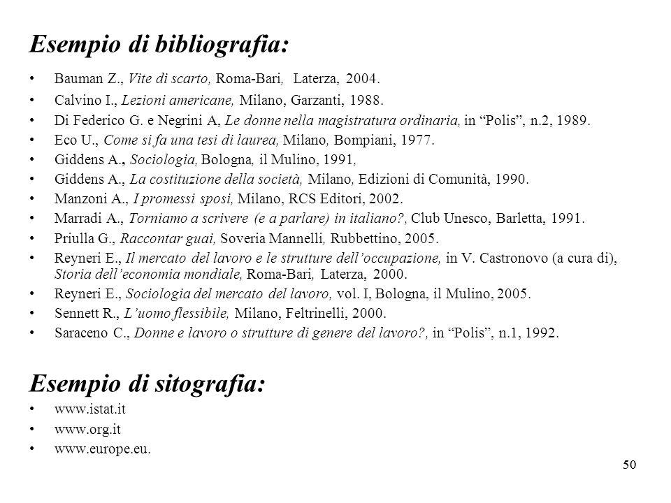 Esempio di bibliografia: