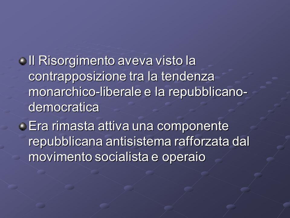 Il Risorgimento aveva visto la contrapposizione tra la tendenza monarchico-liberale e la repubblicano-democratica