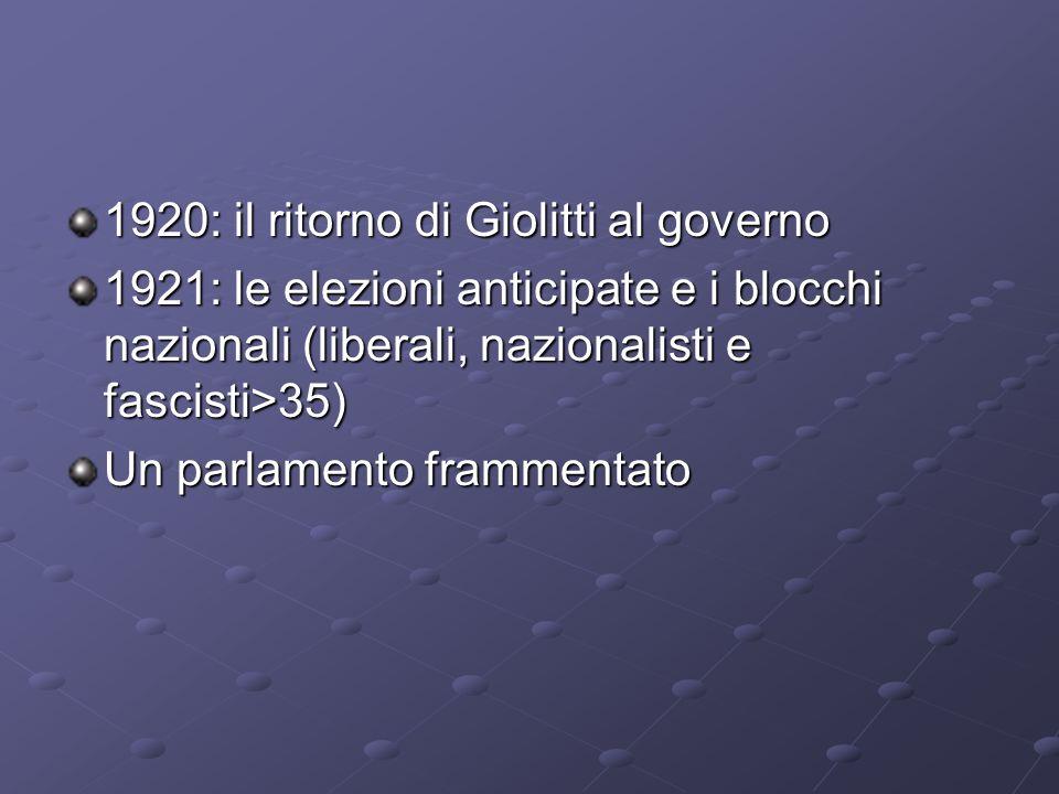 1920: il ritorno di Giolitti al governo