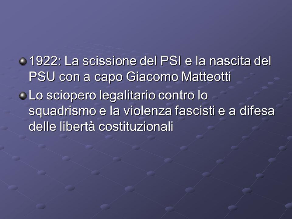 1922: La scissione del PSI e la nascita del PSU con a capo Giacomo Matteotti