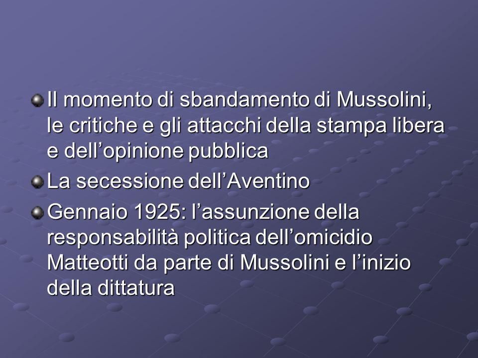 Il momento di sbandamento di Mussolini, le critiche e gli attacchi della stampa libera e dell'opinione pubblica
