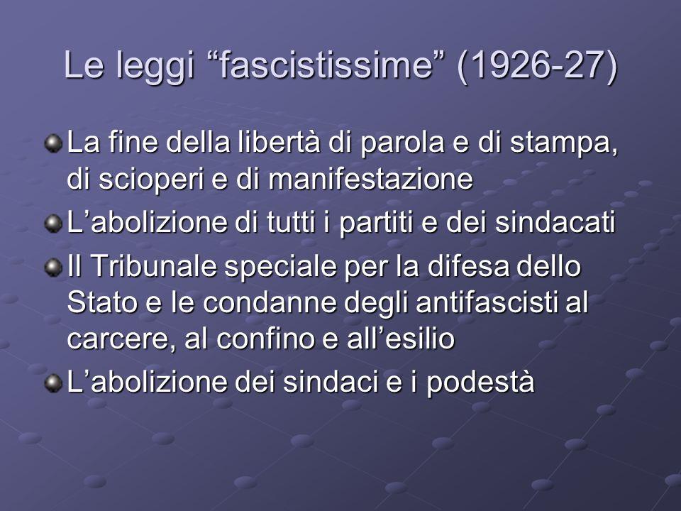 Le leggi fascistissime (1926-27)