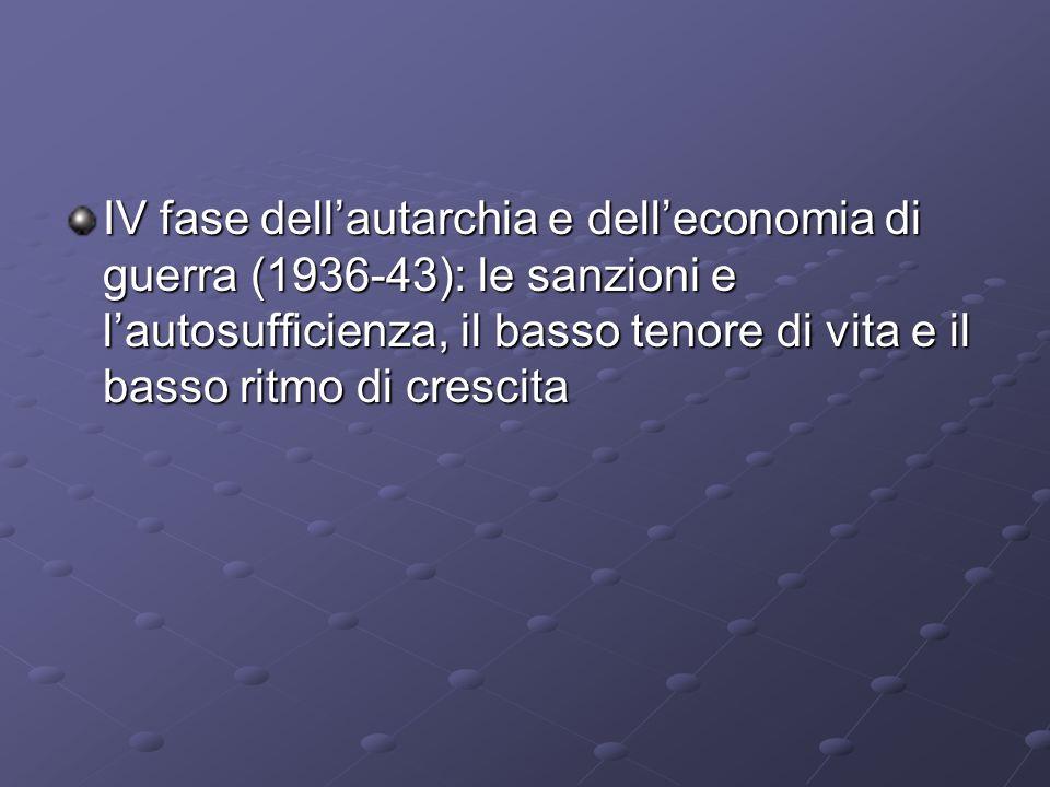 IV fase dell'autarchia e dell'economia di guerra (1936-43): le sanzioni e l'autosufficienza, il basso tenore di vita e il basso ritmo di crescita