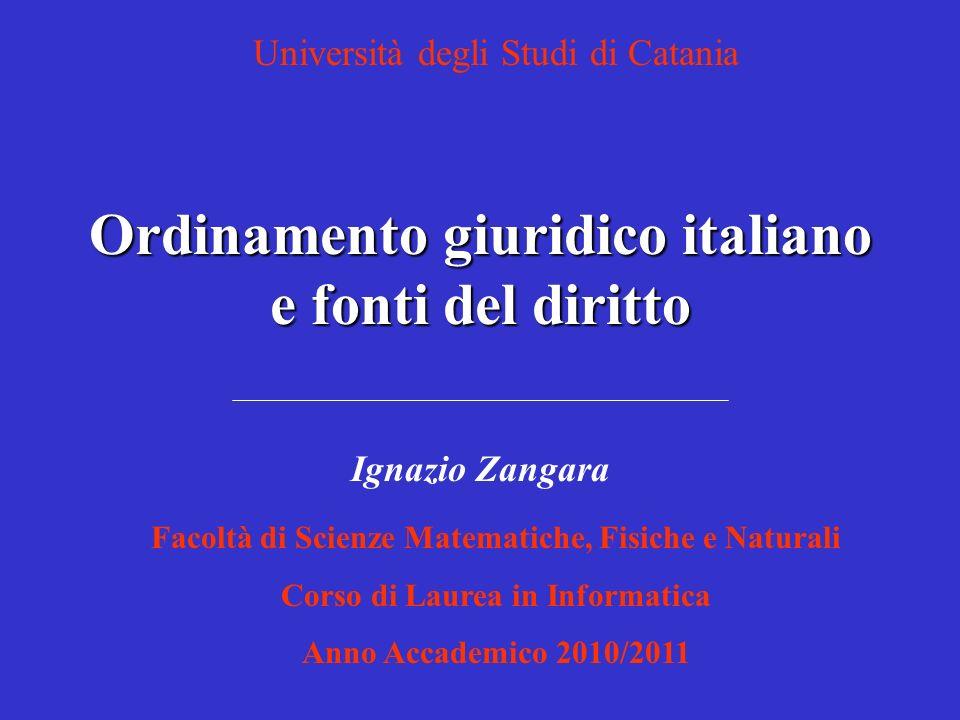 Ordinamento giuridico italiano e fonti del diritto