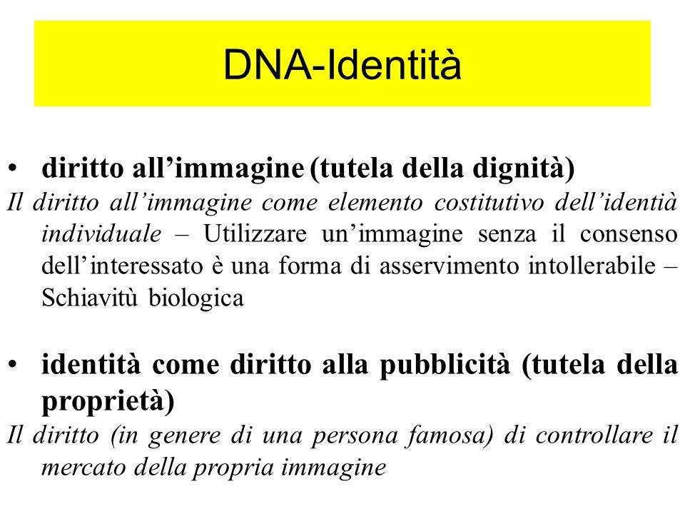 DNA-Identità diritto all'immagine (tutela della dignità)