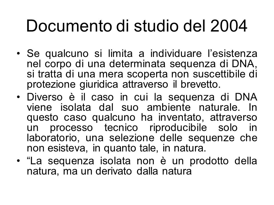 Documento di studio del 2004