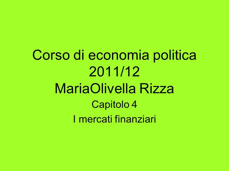 Corso di economia politica 2011/12 MariaOlivella Rizza