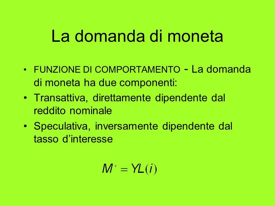 La domanda di moneta FUNZIONE DI COMPORTAMENTO - La domanda di moneta ha due componenti: Transattiva, direttamente dipendente dal reddito nominale.