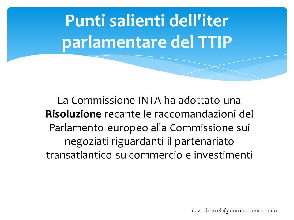 Punti salienti dell iter parlamentare del TTIP