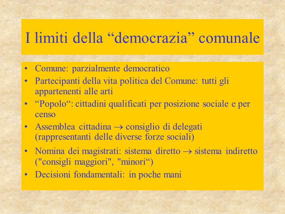 I limiti della democrazia comunale