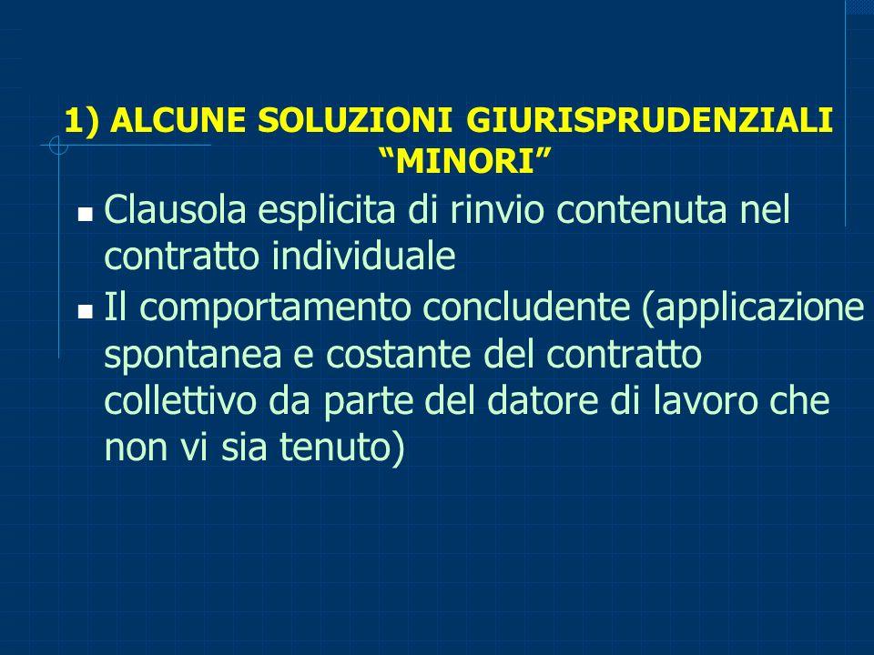 1) ALCUNE SOLUZIONI GIURISPRUDENZIALI MINORI