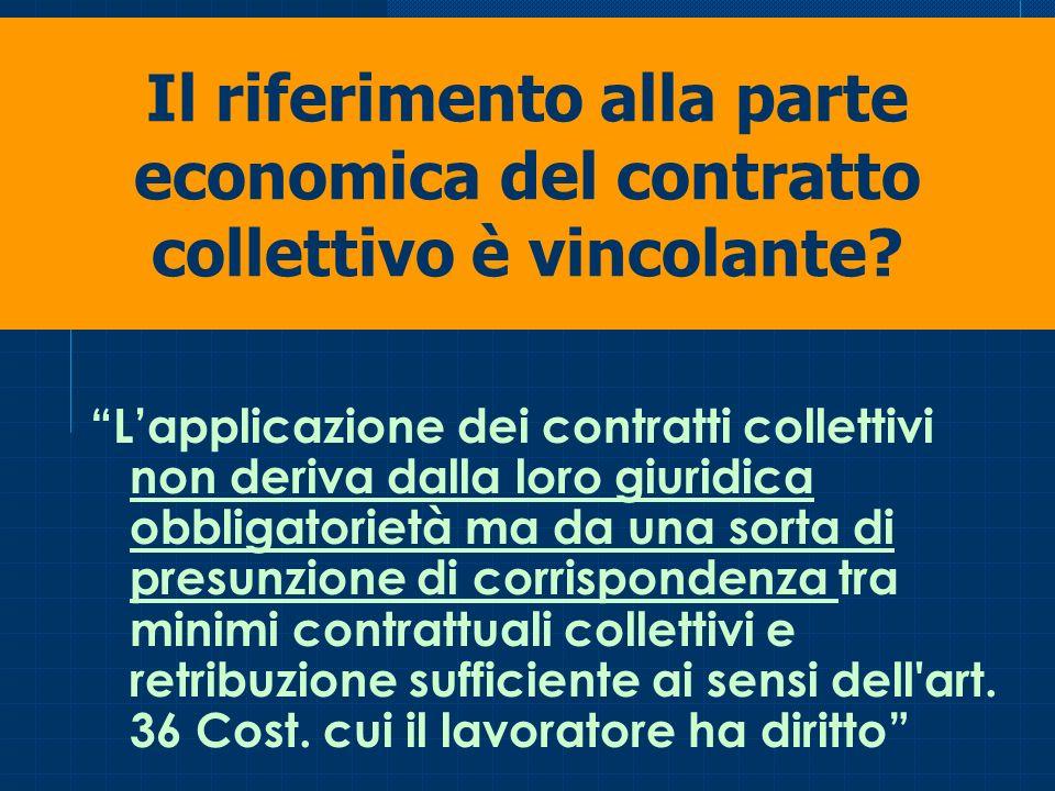 Il riferimento alla parte economica del contratto collettivo è vincolante