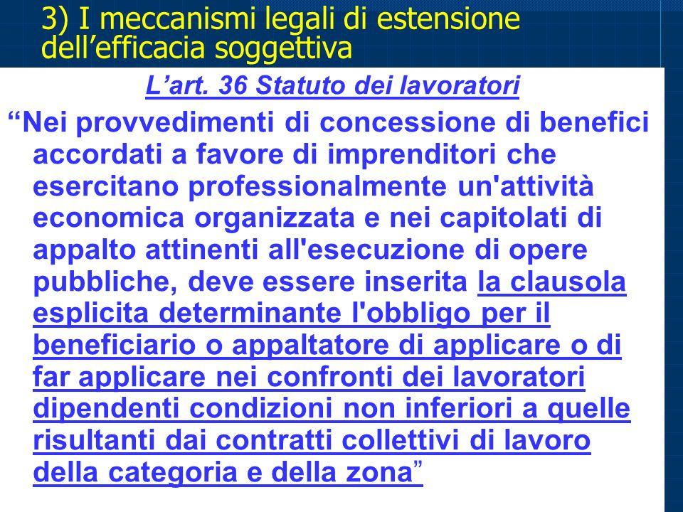 3) I meccanismi legali di estensione dell'efficacia soggettiva